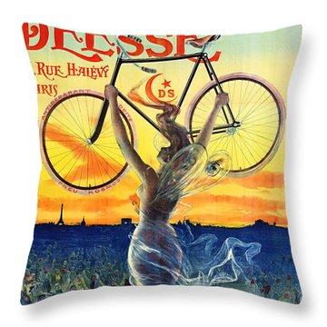 Retro Bicycle Ad 1898 Throw Pillow