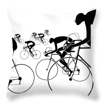 Throw Pillow featuring the photograph Retro Bicycle Silhouettes 1986 by Padre Art