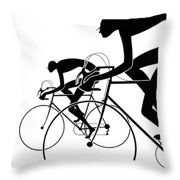 Throw Pillow featuring the photograph Retro Bicycle Silhouettes 2 1986 by Padre Art