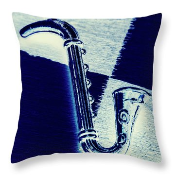 Retro Blues Throw Pillow