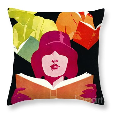 Throw Pillow featuring the photograph Retro Books Poster 1929 by Padre Art