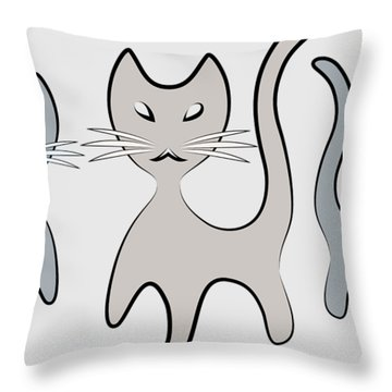 Retro Cat Graphic In Grays Throw Pillow