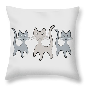Retro Cat Graphic In Grays Throw Pillow