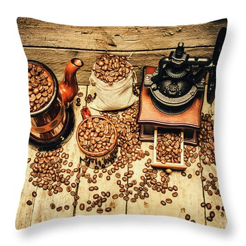 Retro Coffee Bean Mill Throw Pillow