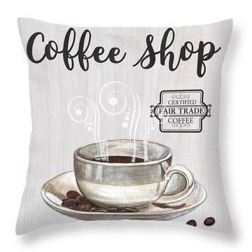 Throw Pillow featuring the painting Retro Coffee Shop 1 by Debbie DeWitt