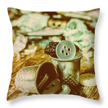 Retro Craft Buckets Throw Pillow