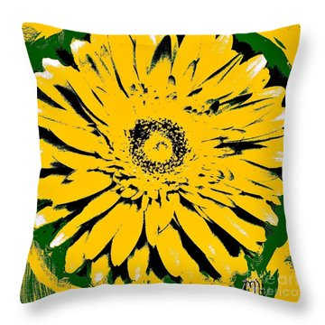 Retro Daisy Throw Pillow by Marsha Heiken