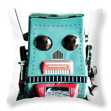 Retro Eighties Blue Robot Throw Pillow