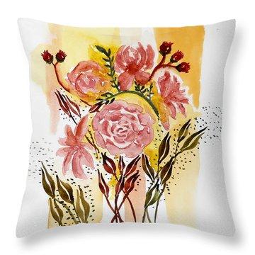 Retro Florals Throw Pillow by Carol Crisafi