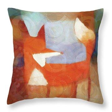 Retro Fox Throw Pillow