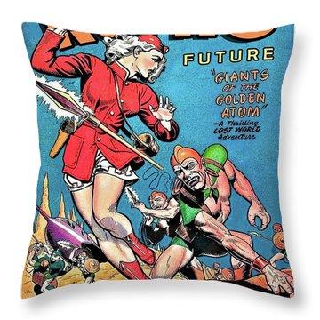 Retro Future Comic Book, Lost World Adventure Throw Pillow