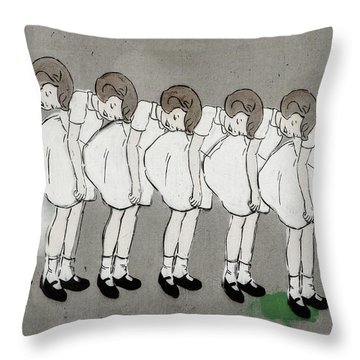 Throw Pillow featuring the photograph Retro Girl by Art Block Collections