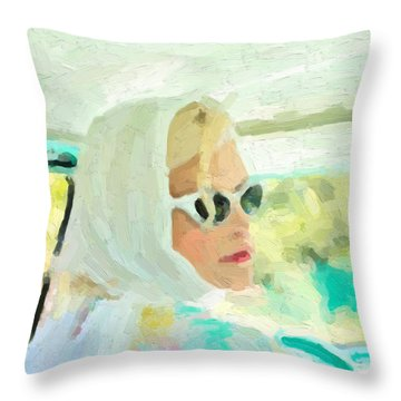 Throw Pillow featuring the digital art Retro Girl - Road Trip No.1 by Serge Averbukh
