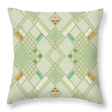 Retro Green Diamond Tile Vintage Wallpaper Pattern Throw Pillow
