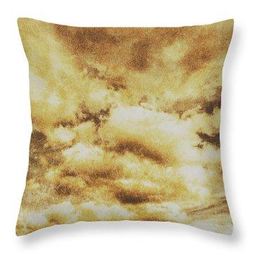 Retro Grunge Cloudy Sky Background Throw Pillow