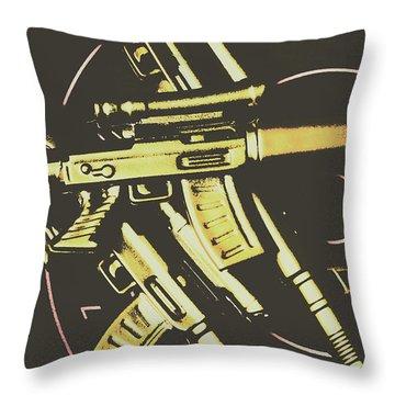 Retro Guns And Targets Throw Pillow