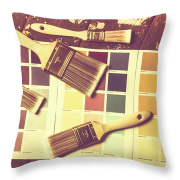 Retro Interior Design Throw Pillow