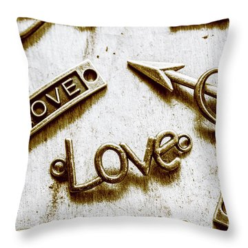 Retro Love Heart Jewels  Throw Pillow