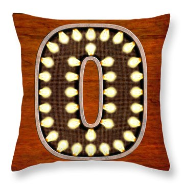 Throw Pillow featuring the digital art Retro Marquee Lighted Letter O by Mark E Tisdale