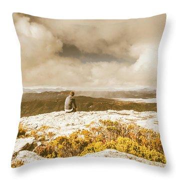 Retro Mountaintop Views Throw Pillow