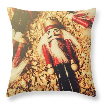 Retro Nutcrackers Throw Pillow