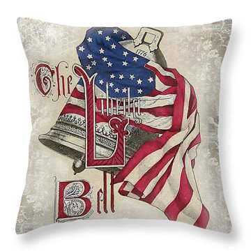 Throw Pillow featuring the digital art Retro Patriotic-a by Jean Plout