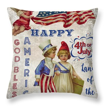 Throw Pillow featuring the digital art Retro Patriotic-c by Jean Plout