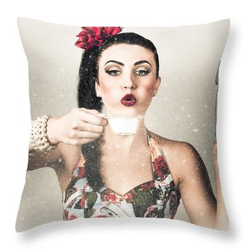 Retro Pin Up Poster Girl. Wash And Clean Service Throw Pillow
