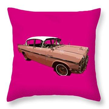 Retro Pink Car Art Throw Pillow