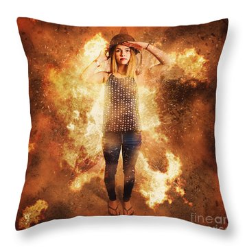 Retro Pinup Girl Soldier With Fashion Pride Throw Pillow