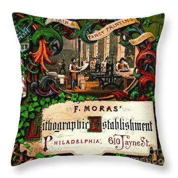 Throw Pillow featuring the photograph Retro Printing Ad 1867 by Padre Art