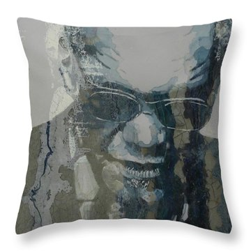 Throw Pillow featuring the mixed media Retro / Ray Charles  by Paul Lovering