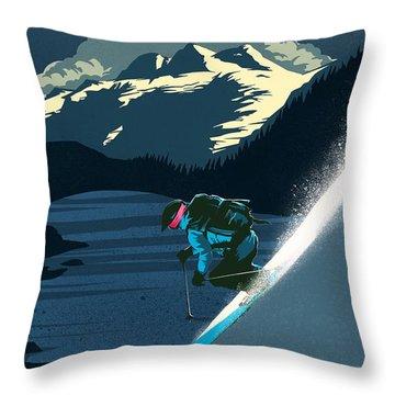 Retro Revelstoke Ski Poster Throw Pillow