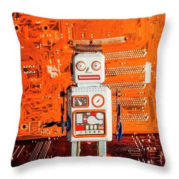 Retro Robotic Nostalgia Throw Pillow