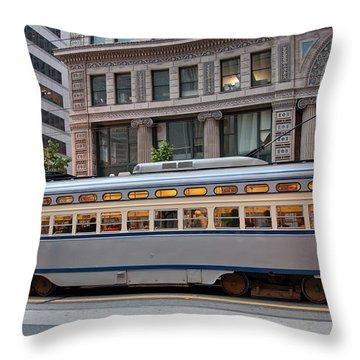 Retro San Francisco Streetcar Throw Pillow