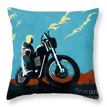 Retro Scrambler Motorbike Throw Pillow