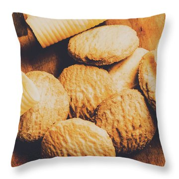 Retro Shortbread Biscuits In Old Kitchen Throw Pillow