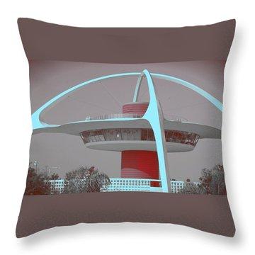 Retro Spaceship Aka La Airport Throw Pillow