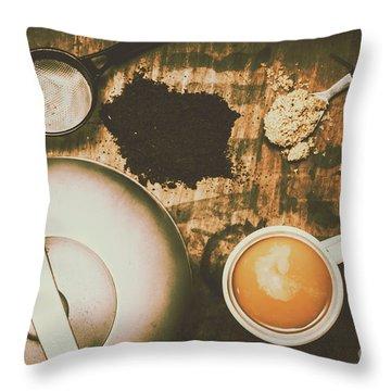Retro Tea Background Throw Pillow