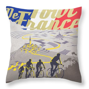 Retro Tour De France Throw Pillow