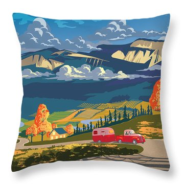 Retro Travel Autumn Landscape Throw Pillow