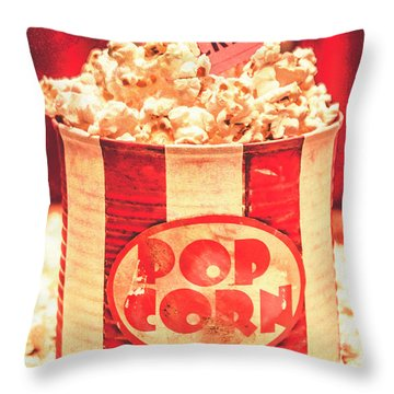 Retro Tub Of Butter Popcorn And Ticket Stub Throw Pillow