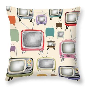 retro TV pattern  Throw Pillow