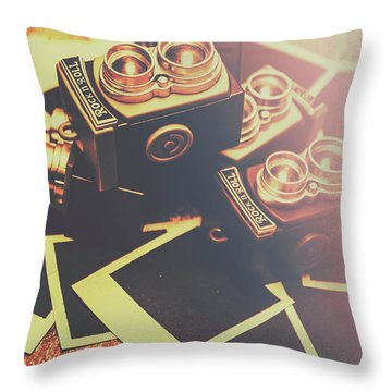 Retro Twin Lens Reflex Cameras Throw Pillow