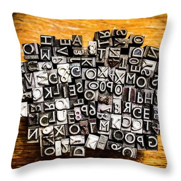 Retro Typesetting In Print Throw Pillow
