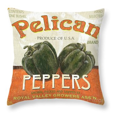 Retro Veggie Labels 3 Throw Pillow