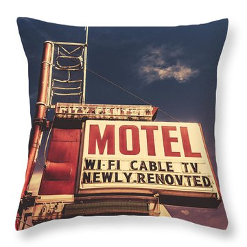 Retro Vintage Motel Sign Throw Pillow