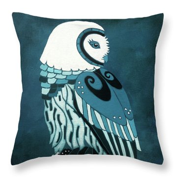 Retrospect In The Moonlight Owl Throw Pillow