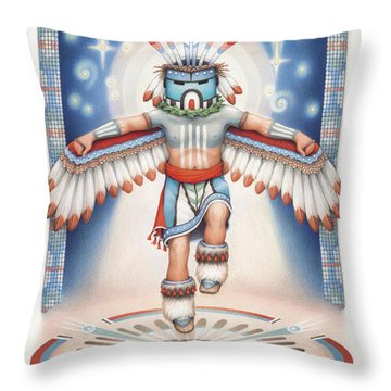 Return Of The Blue Star Kachina Throw Pillow