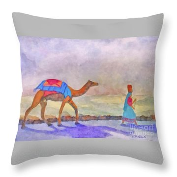 Returning From Market Throw Pillow